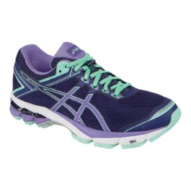 ASICS Women's GT-1000 4 D Wide Width Running Shoes - Purple/Teal Green/Navy