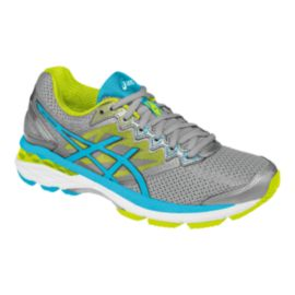 ASICS Women's GT-1000 4 2E Extra Wide Width Running Shoes - Grey/Lime Green/Teal