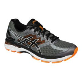 ASICS Men's GT-2000 4 2E Wide Width Running Shoes - Dark Grey/Black/Orange