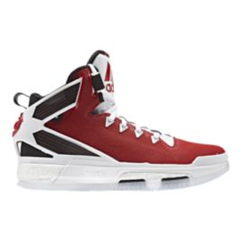 "adidas Kids' D Rose 6 Boost ""Home"" Grade School Basketball Shoes - Scarlett/Black/White"