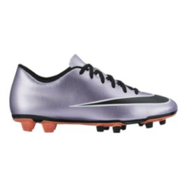 Nike Men's Mercurial Vortex II FG Outdoor Soccer Cleats - Purple/Black/Silver