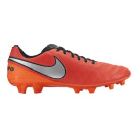 Nike Men's Tiempo Genio II Leather FG Outdoor Soccer Cleats - Orange/Silver/Black