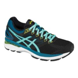 ASICS Women's GT-2000 4 D Wide Width Running Shoes - Black/Light Blue
