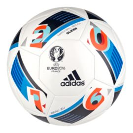 adidas Euro 2016 Glider Soccer Ball Size 5 - White/Bright Blue