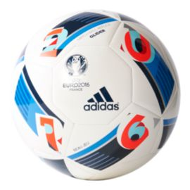 adidas Euro 2016 Glider Soccer Ball Size 3 - White/Bright Blue