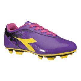 Diadora Girl's Rush FG Outdoor Soccer Cleats - Purple/Yellow/Pink
