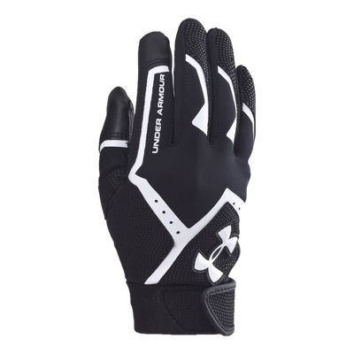 Under Armour Clean Up Youth Batting Glove - Black/White