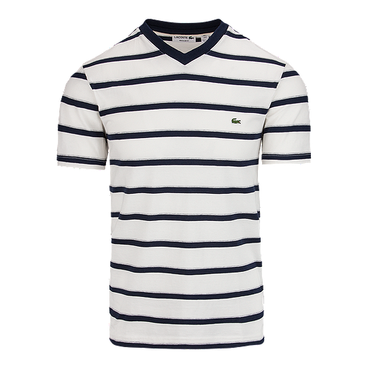 633820a35 Lacoste Men s Short Sleeve V-Neck Stripe Tee