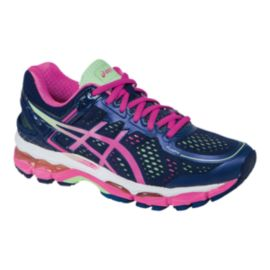 ASICS Women's Gel Kayano 22 D Wide Width Running Shoes - Navy/Pink/Mint Green