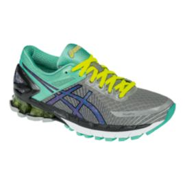 ASICS Women's Gel Kinsei 6 Running Shoes - Grey/Mint Green/Yellow