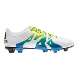 adidas Men's X 15.3 FG Outdoor Soccer Cleats - White/Blue/Lime Green