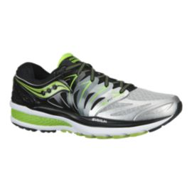 Saucony Men's Hurricane ISO 2 Running Shoes - Silver/Black/Lime Green
