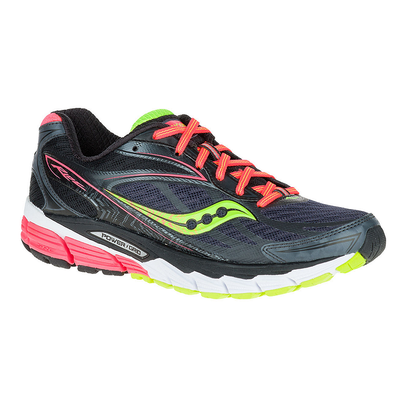 Saucony Women's PowerGrid Ride 8 Running Shoes BlackPinkLime Green