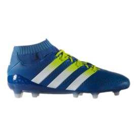 adidas Men's Ace 16+ PrimeKnit FG Outdoor Soccer Cleats - Blue/Lime Green
