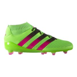adidas Men's Ace 16+ PrimeKnit FG Outdoor Soccer Cleats - Green/Pink/Black