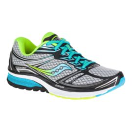 Saucony Women's Everun Guide 9 Wide Width Running Shoes - White/Black/Blue