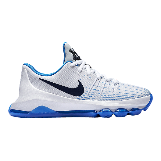super popular 8efe3 9a358 Nike Kids' KD 8 Grade School Basketball Shoes - White/Navy