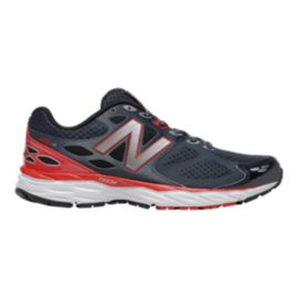 New Balance Men's 680v3 2E Wide Width Running Shoes - Dark Grey/Red