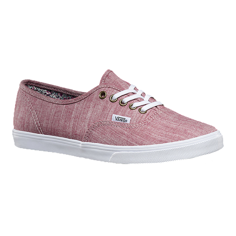 Vans Women s Authentic Lo Pro (Chambray) Skate Shoes - Burgundy White  3b2109764a