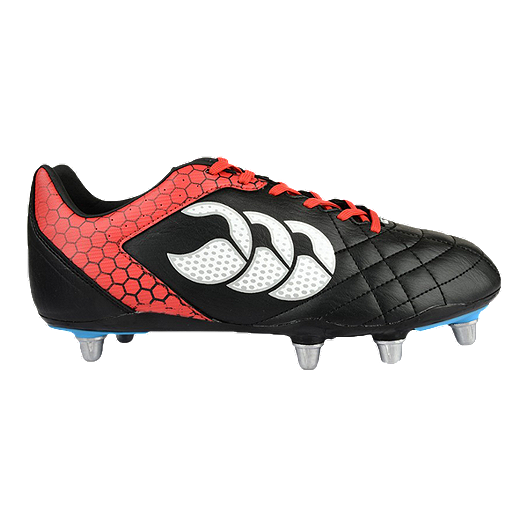 10be09a32d6 Canterbury Men s Stampede Club 8 Stud Rugby Cleats - Black Red White ...