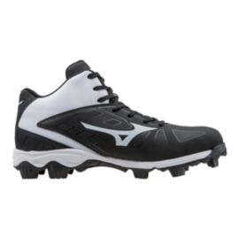 Mizuno Men's 9-Spike ADV Franchise 8 Mid Baseball Cleats - Black/White