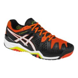 ASICS Men's Gel Resolution 6 Tennis Shoes - Black/Orange/White