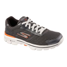 Skechers Men's Go Walk 3 FitKnit Walking Shoes - Grey/White/Orange