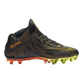 Nike Men's Alpha Pro 2 Three-Quarter TD LE 2.0 Mid Football Cleats - Black/Orange/Yellow