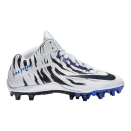 Nike Men's Alpha Pro 2 Three-Quarter TD LE 2.0 Mid Football Cleats - White/Black/Blue