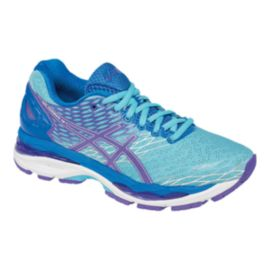 ASICS Women s Gel Nimbus 18 Running Shoes - Light Blue Purple ... 4ce77d660