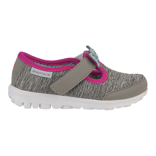 527c6ff572c8b Skechers Toddler Girls GOwalk Bitty Bow Casual Shoes - Grey/Pink. (1). View  Description