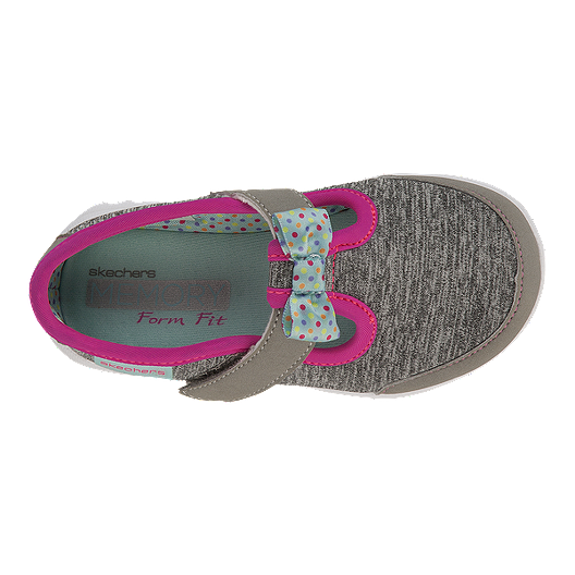 ec41787f5b26b Skechers Toddler Girls GOwalk Bitty Bow Casual Shoes - Grey Pink ...