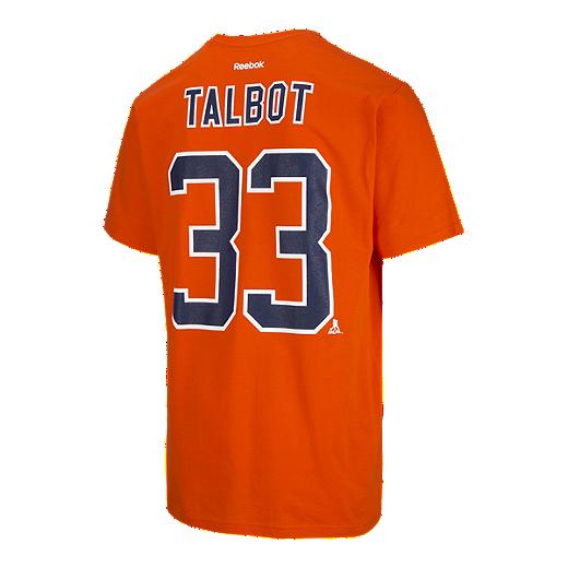 new product 64769 88c12 Edmonton Oilers Cam Talbot Replica PA T Shirt