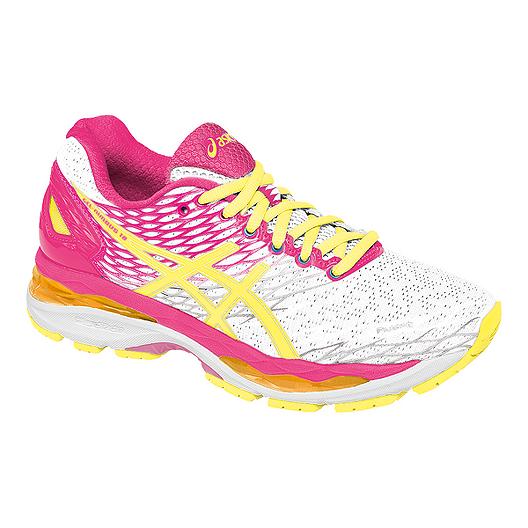 6e7172e919d5 ASICS Women s Gel Nimbus 18 Running Shoes - White Pink Yellow ...