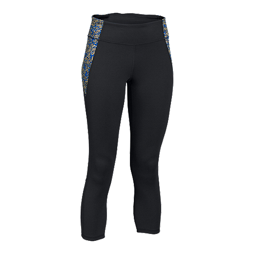 744e4c82ac4ddb Under Armour Studio Mirror Fractured Mesh All-Over Print Women's Crop Tights  - 002 BLACK