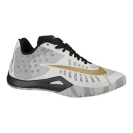 Nike Men's HyperLive Basketball Shoes - White/Gold/Black