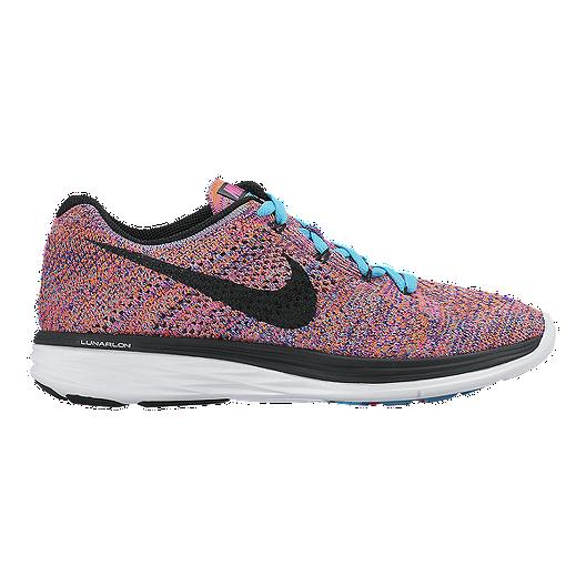 2210d68cbc23 Nike Women s FlyKnit Lunar 3 Running Shoes - Pink Multi Pattern black