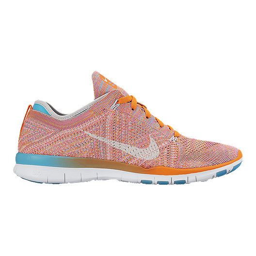 half off a397d 5d007 Nike Women s Free TR FlyKnit Training Shoes - Orange White Blue   Sport Chek