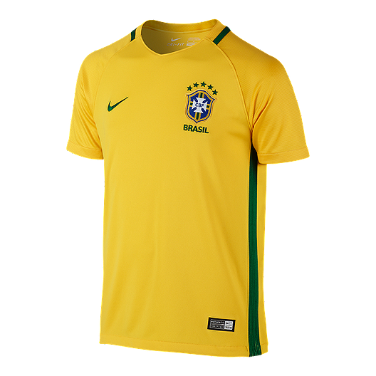 f34ef53fa Brazil Kids' Home Youth Yellow Soccer Jersey | Sport Chek