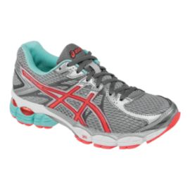 ASICS Women's Gel Flux 2 Running Shoes - Grey/Coral Pink/Blue