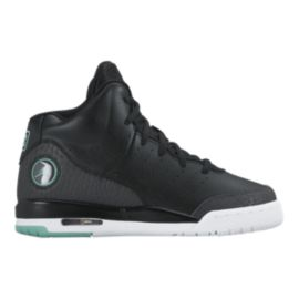 Nike Kids' Jordan Flight Tradition Grade School Basketball Shoes - Black/Turquoise/White