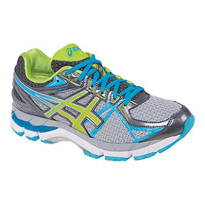 ASICS Women's GT-3000 3 Running Shoes - Silver Grey/Blue/Lime Green