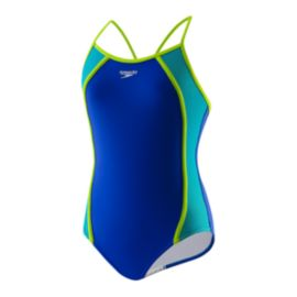 Speedo Mesh Splice Thin Strap Girls' One-Piece Swimsuit