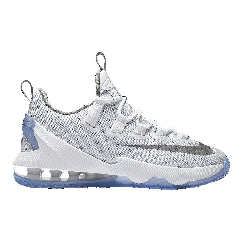 6011659869 Nike Kids' LeBron XIII Low Grade School Basketball Shoes - White/Silver/Iron    Sport Chek