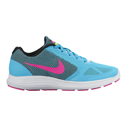 488e6ba7de Nike Girls' Revolution 3 Grade School Running Shoes - Blue/Pink/Black |  Sport Chek