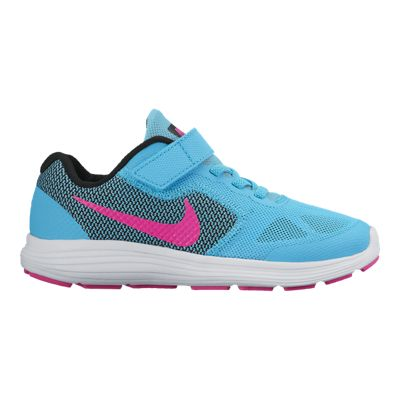 Nike Girls' Revolution 3 Preschool Running Shoes - Blue/Pink/Black