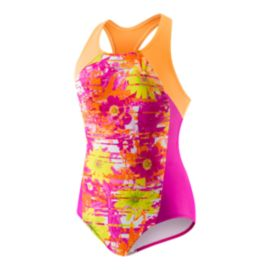 Speedo Floral Splice Girls' 1-Piece Swimsuit
