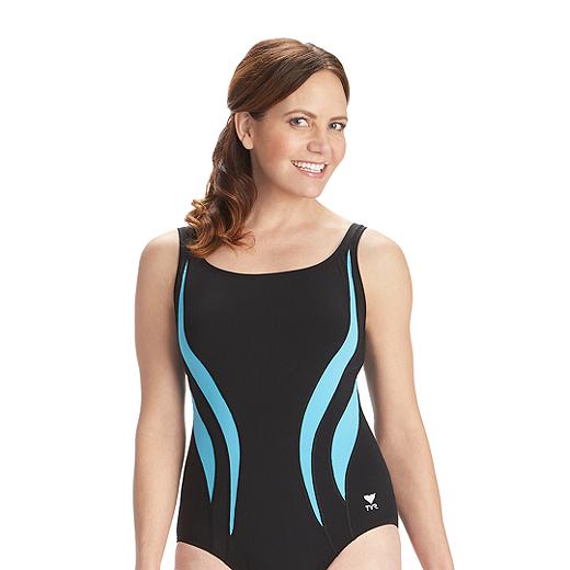 e06c46d5bf1ad TYR Women's Durafast Alliance Splice Aqua Tank One Piece Swimsuit -  BLACK/CONCORDIA