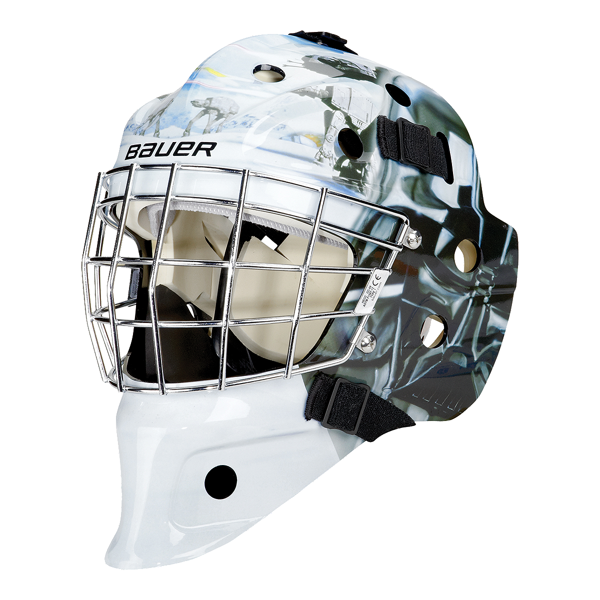 Bauer nme 3 star wars darth vader head youth goalie mask for Bauer goalie mask template