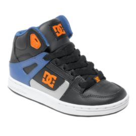 DC Kids' Rebound Grade School Skate Shoes - Black/Orange/Blue